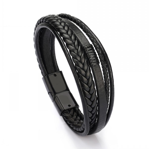 Wholesale Cheap Jewelry Men Magnetic Clasp Multilayer Leather Bracelet