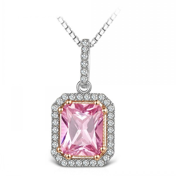 High Quality White Gold Square Stone Pendant Necklace
