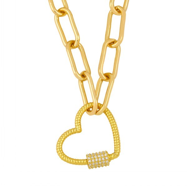 Hot Sale Design Jewelry Heart  Lock Pendant Necklace 18K Gold Plated
