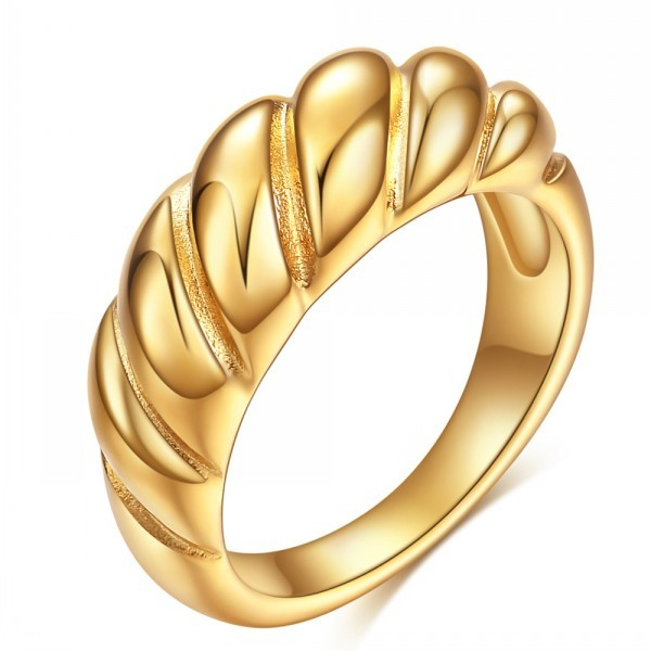 Twisted Rope Signet Chunky Dome Ring Stacking Band for Women Jewelry Croissant R