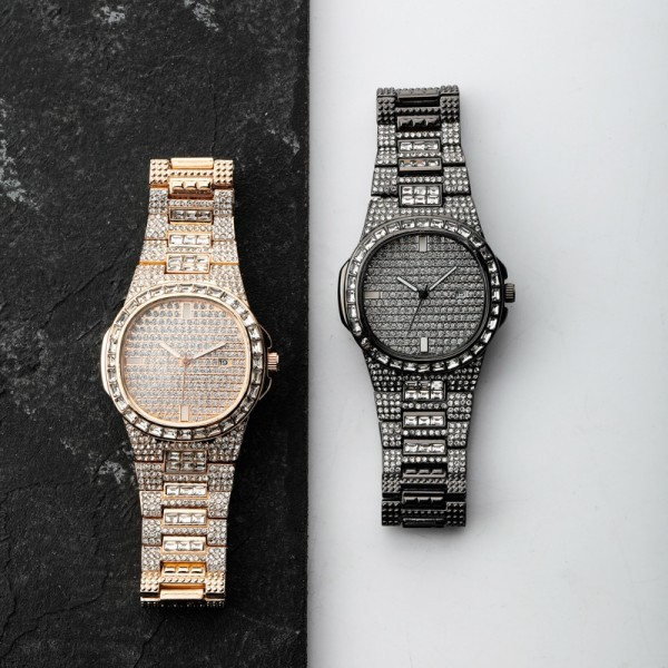 Iced Out Full Diamond Mens Chronograph Watches Hip Hop Watches