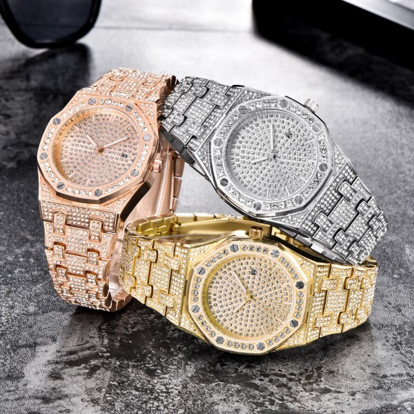 Men Watches Top Luxury Stainless Steel Iced Out Watch Full Rhinestone Fashion