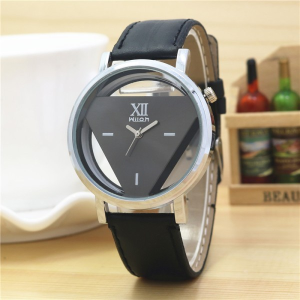 New Triangle Design Leather Watch For Men And Women